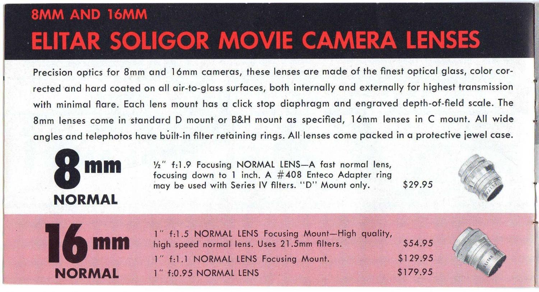 Elitar Soligor 25mm f0.95 brochure
