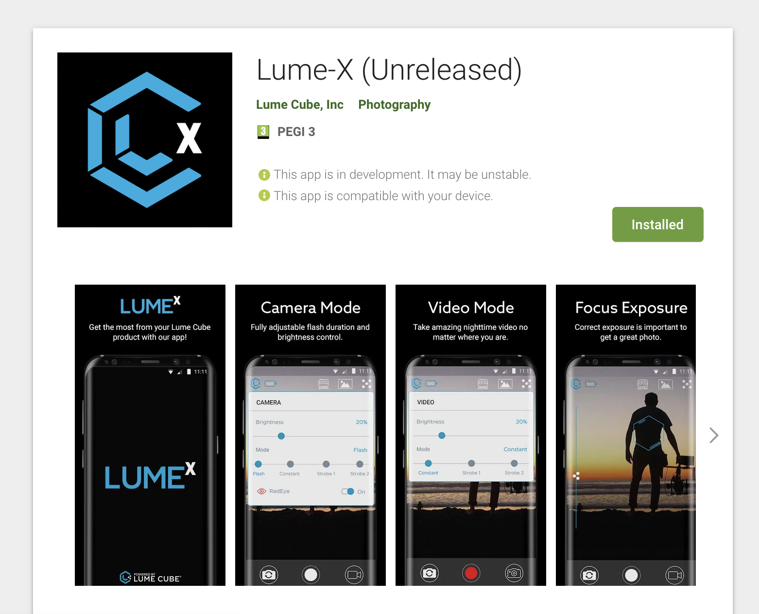 Lume Cube Android app